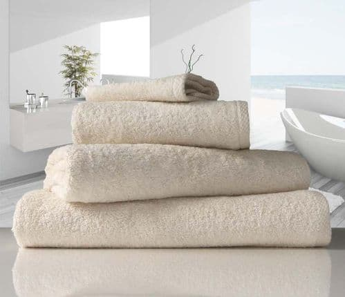linenHall 500gsm Combed Organic Cotton Bath Towels Natural Unbleached